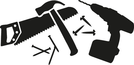 hammer and nails: Workman tool with saw, hammer, nails and drill