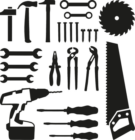 hammers: Tools set - saw, wrench, screwdriver, nails, screw, drill