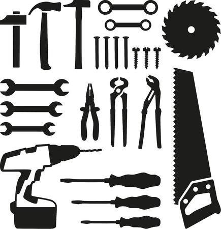 Tools set - zaag, moersleutel, schroevendraaier, spijkers, schroeven, boren Stock Illustratie