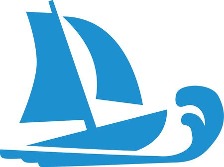 sailing boat: Sailing boat with wave icon