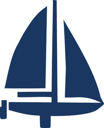 sailing boat: Sailing boat with oar symbol