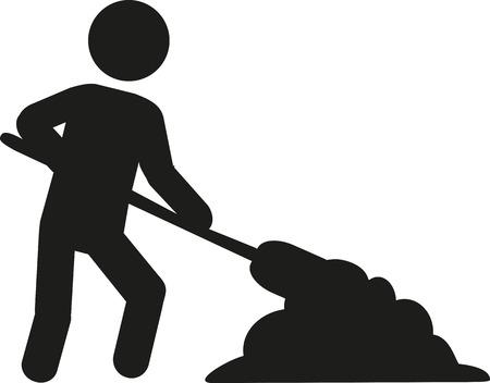 craftsmen repair: Workman with shovel Illustration