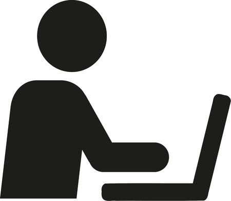man with laptop: Man at laptop pictogram