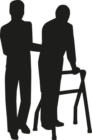 Geriatric nurse silhouette Illustration