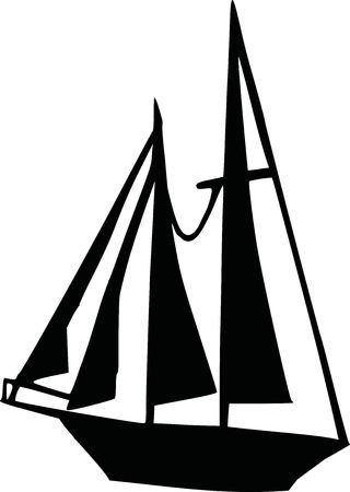 big boat: Big Sailing boat silhouette