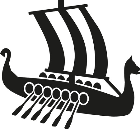 nautical vessel: Viking boat with oars Illustration