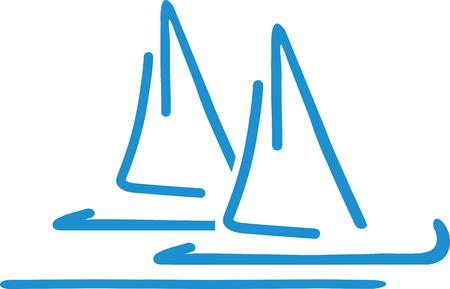 sailing boats: Handdrawn Sailing boats