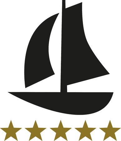 Barco de vela con cinco estrellas de oro Ilustración de vector