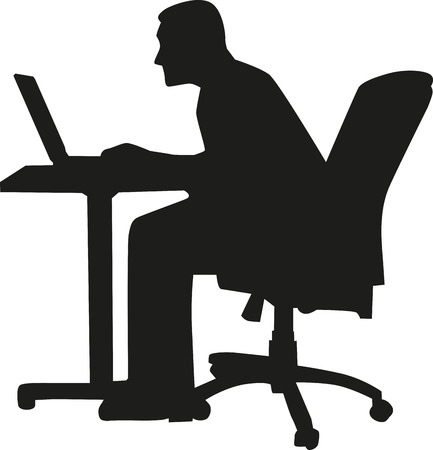 pc icon: Man sitting on a table with laptop