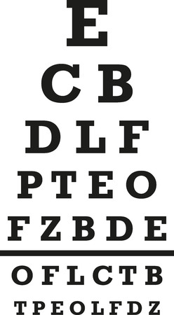 eye exam: Visual test with letters Illustration