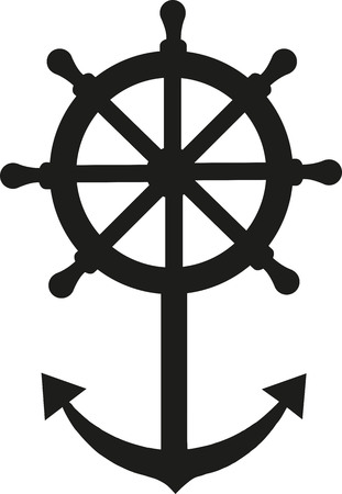 steering wheel: Ship steering wheel with anchor Illustration
