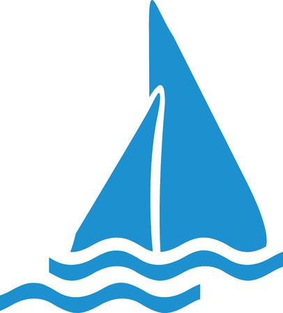 sailing boat: Icon of a sailing boat