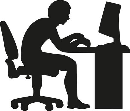 worker silhouette: Desktop worker silhouette