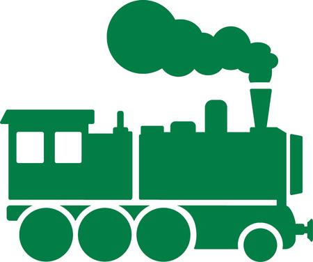 steam locomotive: Green locomotive with steam
