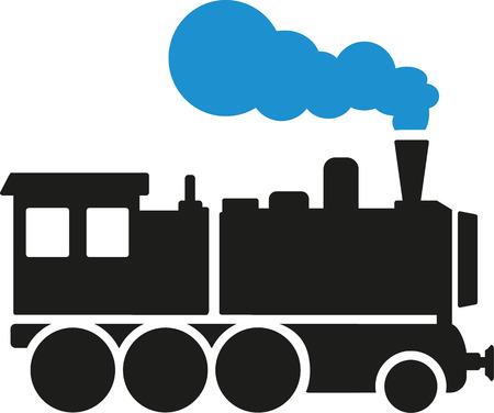 Locomotora de vapor con azul