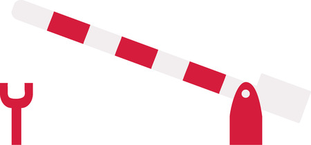 barrier: Railway barrier red white striped Illustration