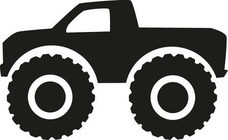 Monster truck icon - four wheel drive Illustration