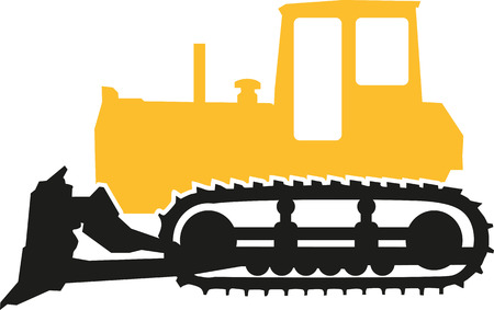 earth mover: Bulldozer in black and yellow