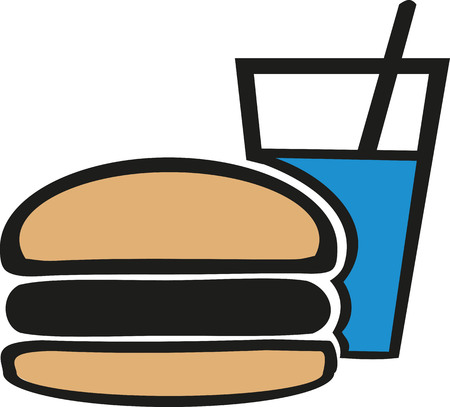 softdrink: Burger and Softdrink cartoon style Illustration