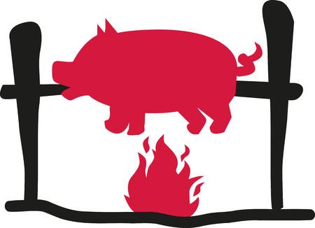 Suckling pig over flame Illustration