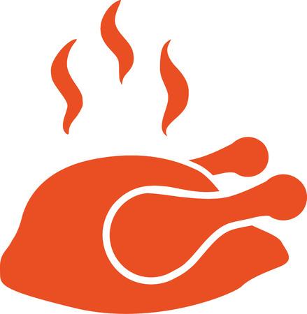 Roast chicken icon Illustration