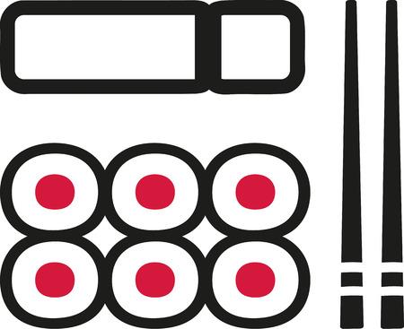 sushi  plate: Sushi plate with maki chopsticks