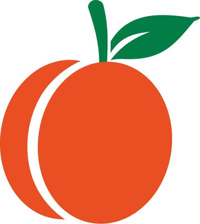 Apricot-Symbol mit dem grünen Blatt