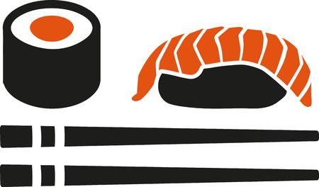 sushi set: Sushi set with chopstick maki roll and nigri