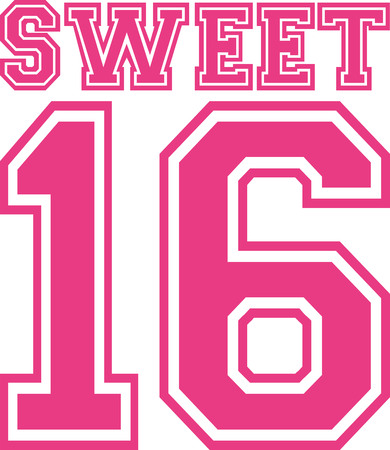 Sweet sixteen 16 college style Stock Illustratie