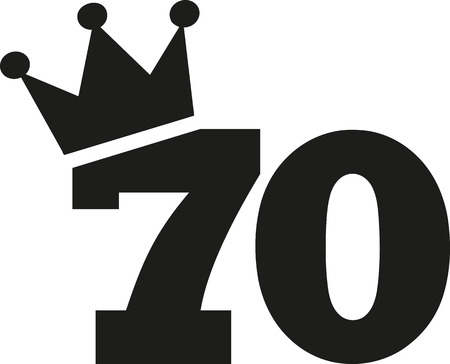 tenth: 70th Birthday number crown Illustration