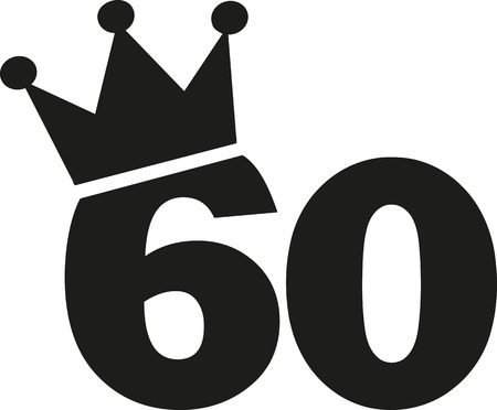 sixtieth: 60th Birthday number crown Illustration