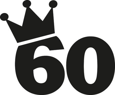 60th Birthday number crown Illustration