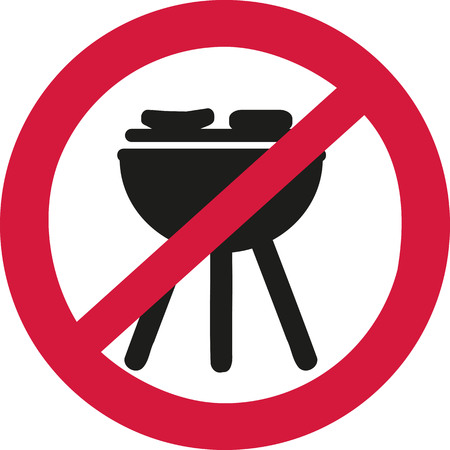 ban sign: No bbq allowed - ban sign Illustration