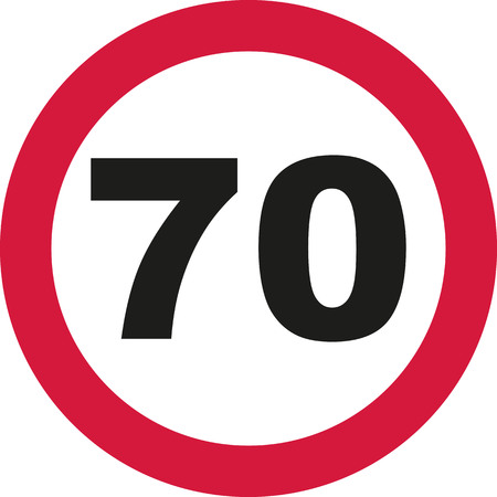 seventieth: 70th Birthday - traffic sign