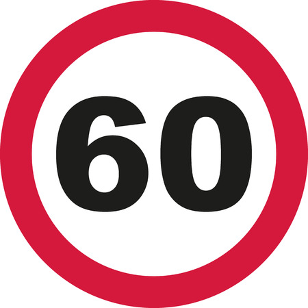 sixtieth: 60th Birthday - traffic sign Illustration