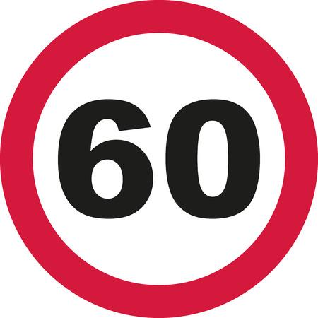 60th Birthday - traffic sign Illustration