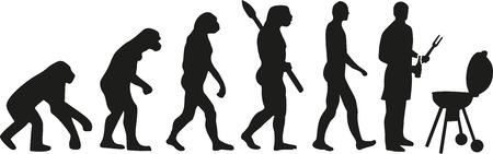 Hombre en la parrilla - barbacoa evolución