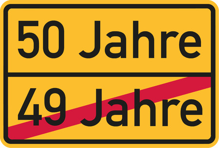 50th: 50th birthday - roadsign german Illustration