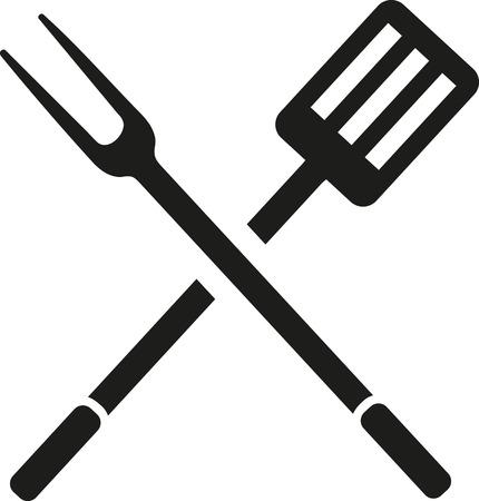spatula: BBQ cutlery fork spatula Illustration