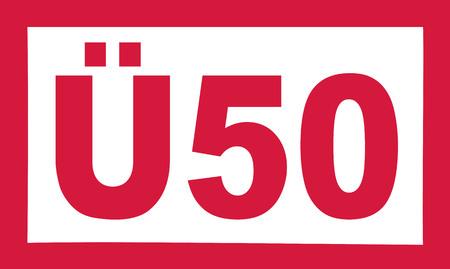 the fiftieth: Over 50 birthday - Ü50 german Illustration