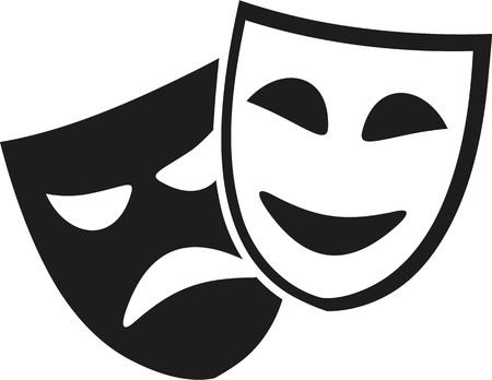 mascaras de teatro: máscaras de teatro en blanco y negro