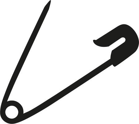 Seguridad de la aguja pasador abierto Ilustración de vector