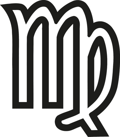virgo the virgin: Virgo zodiac sign outline Illustration