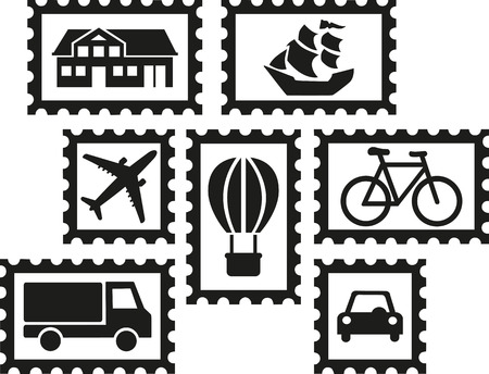 philately: Collecting stamps - set of stamps with icons