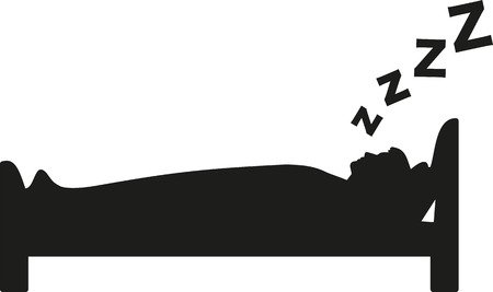Silhouette of sleeping man in bed with zzz Ilustração