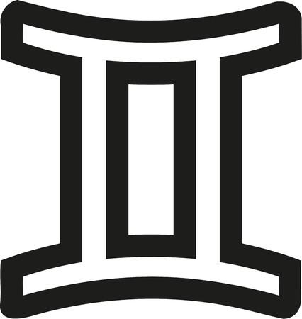 Zodiac sign gemini outline