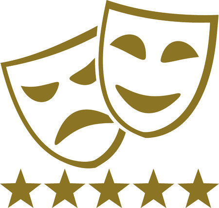 theater masks: Golden theater masks with five stars