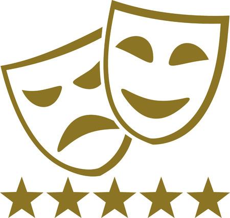 Maschere d'oro teatro con cinque stelle Archivio Fotografico - 60940264