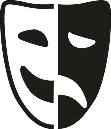 Theater mask half and half Vectores