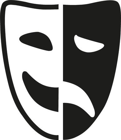 Theater mask half and half Stock Illustratie